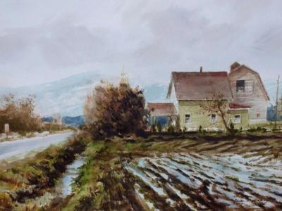 """"""" Barn and Spring Rain """"  Sold"""